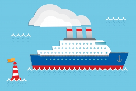 ocean liner: Cruise ship in the ocean Illustration