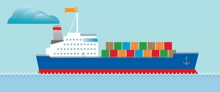 containerschip: Tanker vrachtschip met containers Stock Illustratie