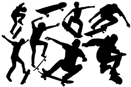 collection of skateboard vector  Vector