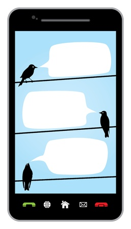 conversing: chatting birds on wires  Illustration