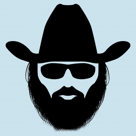 cowboy man: Bearded man silhouette