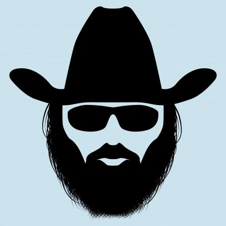 hombre con barba: Silueta hombre barbudo