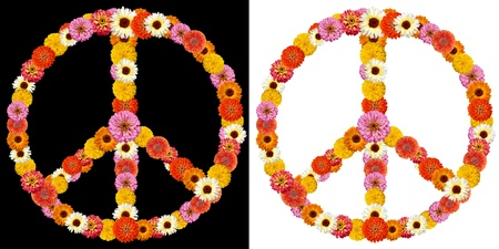peace symbol made from flowers photo