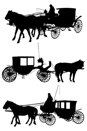 horse and carriage silhouette Stock Vector - 15171514