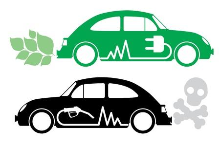 icono contaminacion: Eco concept car. Vectores