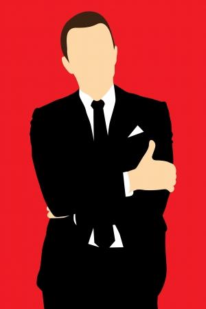 Silhouette men in suit Stock Vector - 15551152
