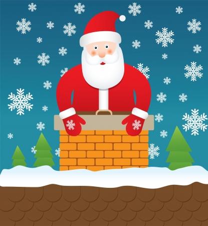 Kerstman vast in schoorsteen Vector Illustratie