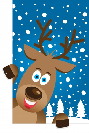 Christmas card with a cute reindeer character Stock Vector - 15694825