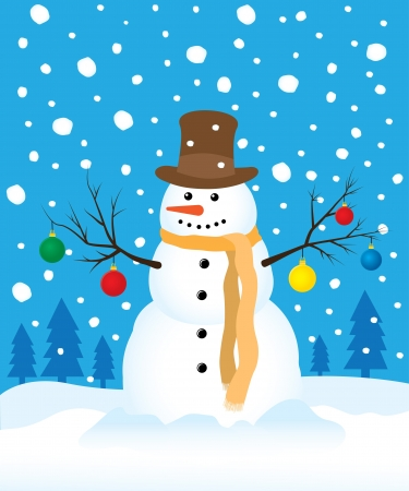 snowman in winter field Vector