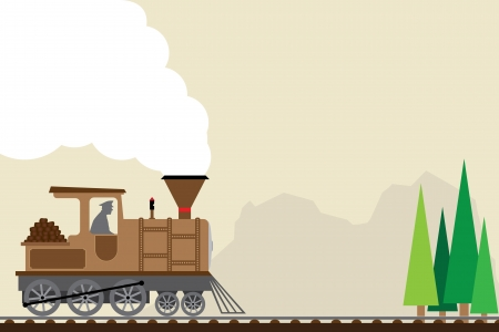 train cartoon: retro train   Illustration