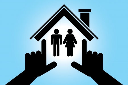 realestate: man and woman in the house Illustration