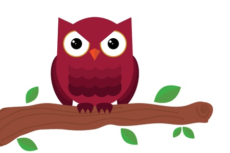 owl sitting on tree Vector