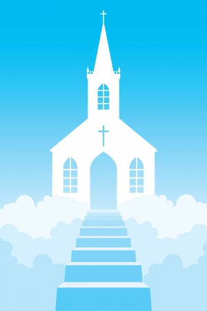 Church in clouds Vector
