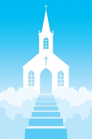 steeple: Church in clouds