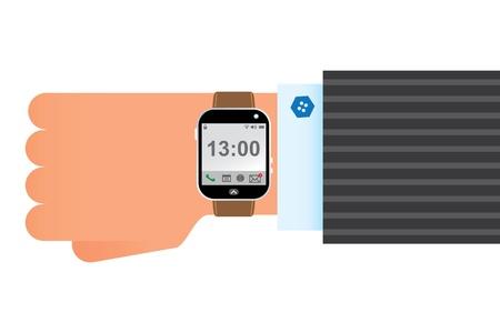 orologio da polso: a mano che indossa orologio da polso intelligente