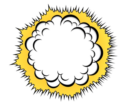 Cartoon cloud after the explosion over white background Illustration