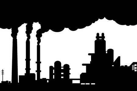 Industrial landscape silhouette showing smokestacks,factories Stock Vector - 23247377