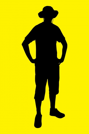siloette: Vector illustration of tourist under the yellow background