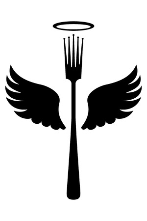 Fork with wings and crown instead of Teeth Vector