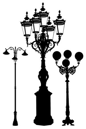 A set of lamp post for urban cities in vector.