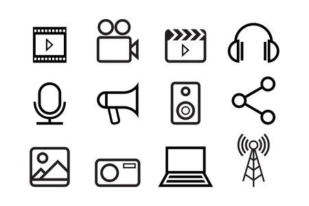 sketched icons: Bosquejada iconos de internet de vector