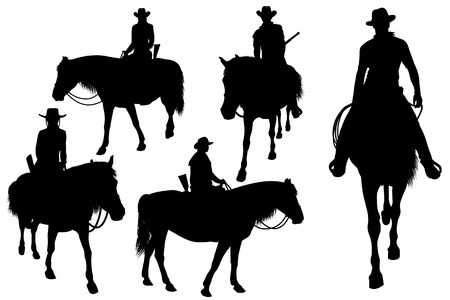 cowboy silhouette: cowboy on horse