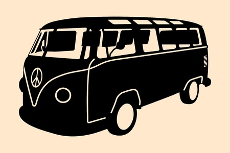 Vector pop art illustration. Minivan Hippie Silhouette Illustration