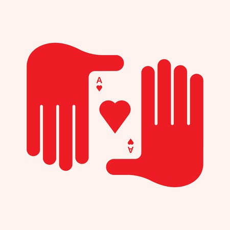 ace: Mans Hand Holding an Ace of Hearts