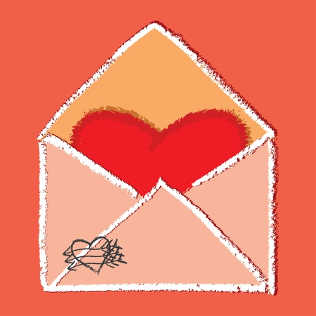 Heart shaped note in envelope - vector image