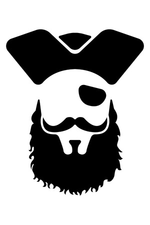 patches: Pirate mascot head. Great for any school or sport based design. Illustration