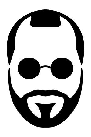 長い髪と髭の男のシルエット イラスト。  イラスト・ベクター素材