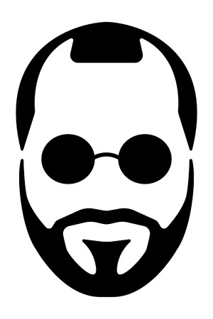 man long hair: Bearded man silhouette illustration with long hair.