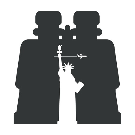 Binoculars on the silhouette of the Statue of Liberty Illustration