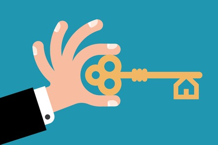 key in hand to open the lock Stock Vector - 36450166