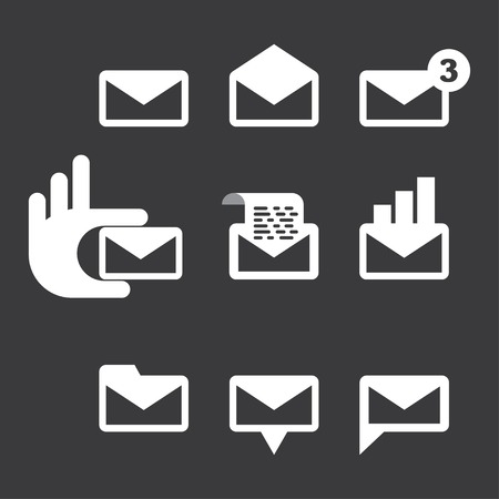 set of 9 icons envelope. Email. vector illustration