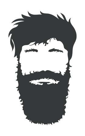 bearded man: Bearded man silhouette illustration with long hair.
