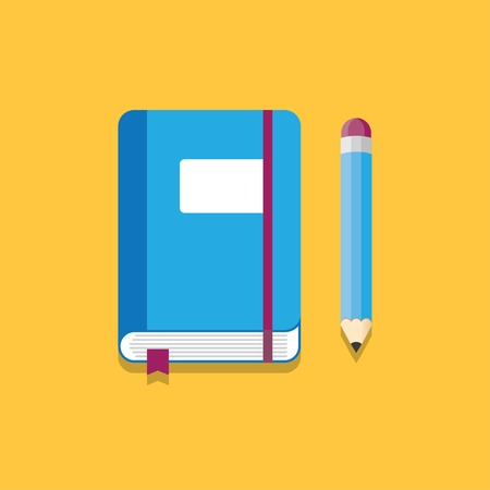 blue notebook with elastic band, bookmarks and pencil. Vector illustration. Illustration