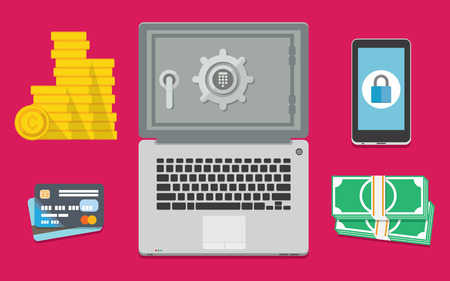 safe investments: Set of banking and financial vector illustrations, computer surrounded by various financial icons depicting safe investments, banking and online security Illustration