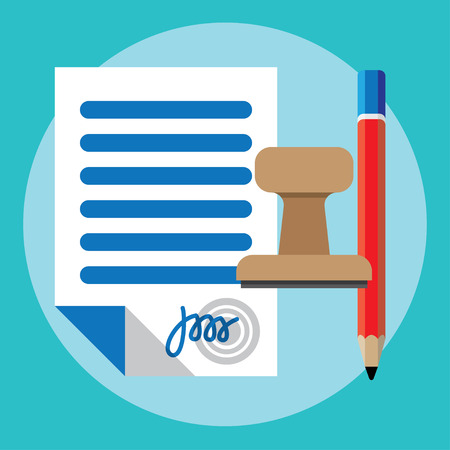 pact: Vector agreement icon - contract, pencil and stamp Illustration