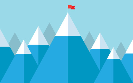 new opportunity: Vector illustration of success - top of the mountain with red flag. Flat illustration of a victory, goal achievement, getting things done.