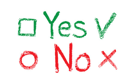 yes or no: Yes No flags, drawing with chalk on a blackboard Illustration