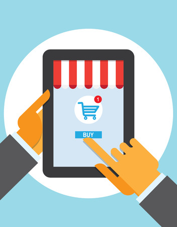 retailers: Internet shopping e-commerce concept tablet with awning of buying products via on line shop store e-commerce ideas e-commerce symbols sale elements on stylish background.