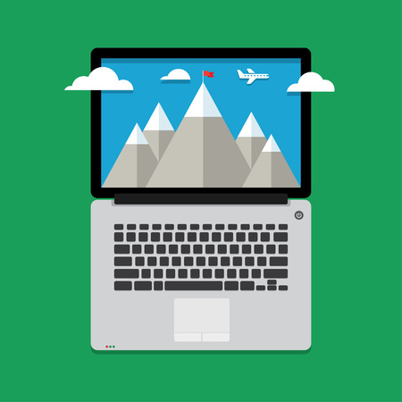 laptop screen: mountain peak with red flag. The concept of achieving a goal, winning, task completion, success. on the laptop screen Illustration