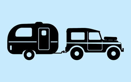 family van: camping car pulling trailer. silhouettes, vector, illustration