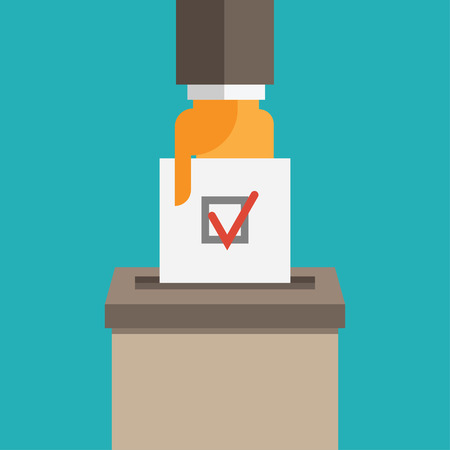 voter registration: Voting concept in flat style - hand putting voting paper in the ballot box Illustration