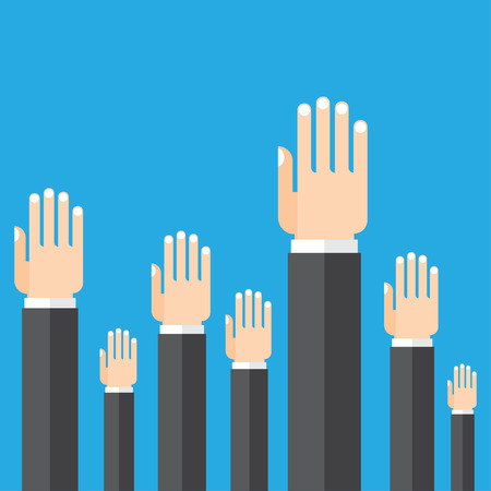 electors: Hands raised up. Infographics elements. isolated on blue background