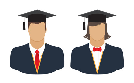 graduates: graduates in gown and graduation cap icon colorful flat style