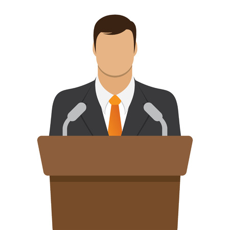 narrator: speaker icon. orator speaking from tribune. vector flat design colorful illustration