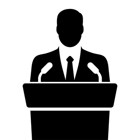 orator: speaker icon. orator speaking from tribune. vector flat design colorful illustration