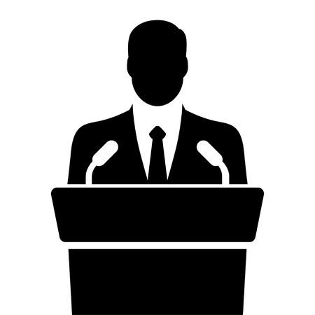 narrator: speaker icon. orator speaking from tribune. vector flat design colorful illustration